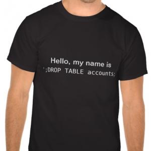 Tshirt injection SQL : DROP TABLE accounts