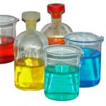 Fiole colorée de chimie